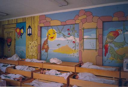 Роспись стены в детском саду